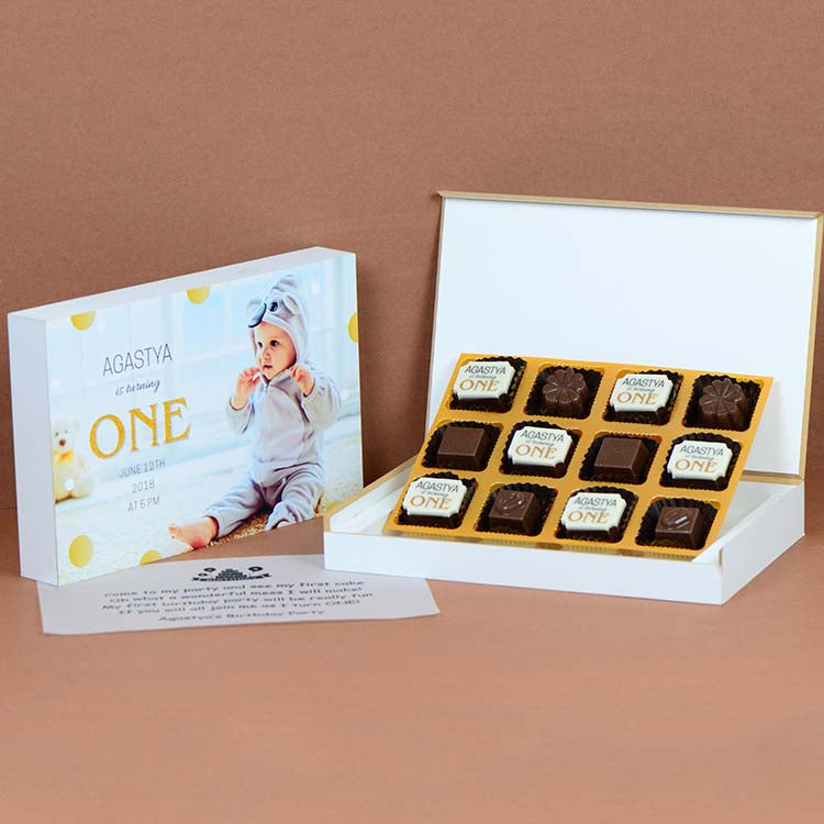 1st Birthday Invitations - 12 Chocolate Box - Alternate Printed Chocolates (Minimum 10 Boxes)