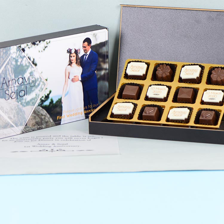 Anniversary Invitations - 12 Chocolate Box - Alternate Printed Chocolates (Minimum 10 Boxes)