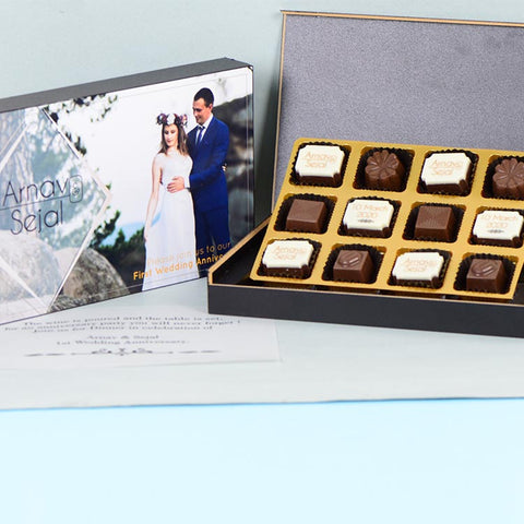 Anniversary Invitations - 12 Chocolate Box - Alternate Printed Chocolates (10 Boxes)