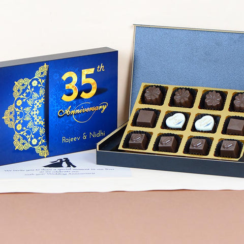 Anniversary Invitations - 12 Chocolate Box - Middle Two Printed Chocolates (Minimum 10 Boxes)