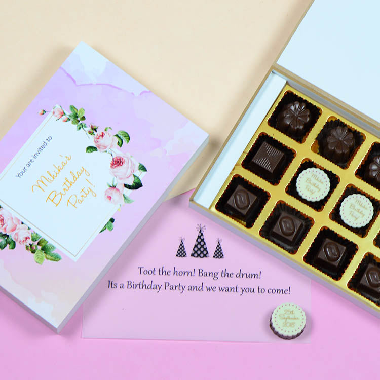 Birthday Invitations - 12 Chocolate Box - Middle Two Printed Chocolates (Minimum 10 Boxes)