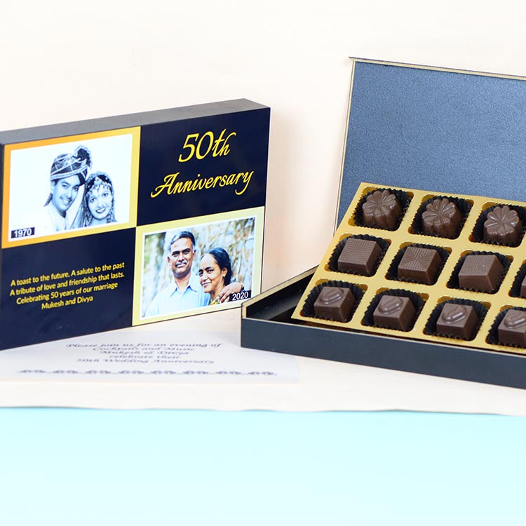 Anniversary Invitations - 12 Chocolate Box - Assorted Chocolates (Minimum 10 Boxes)