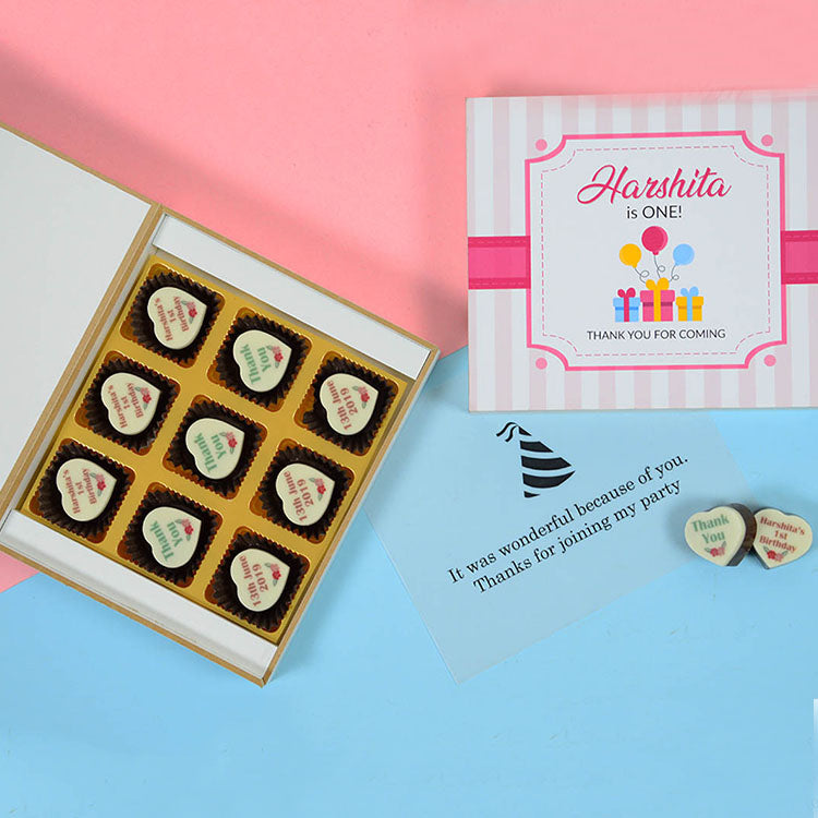 1st Birthday Return Gifts - 9 Chocolate Box - All Printed Chocolate (Sample)