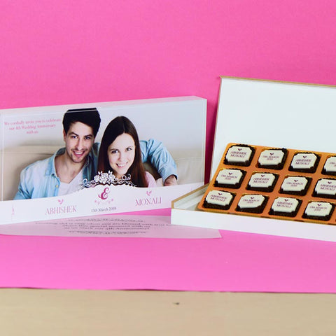 Anniversary Invitations - 18 Chocolate Box - All Printed Chocolates (10 Boxes)