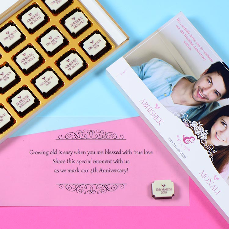 Anniversary Invitations - 18 Chocolate Box - All Printed Chocolates (Sample)