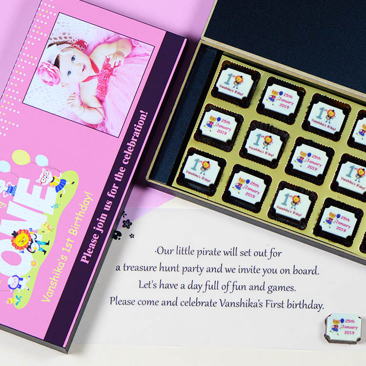 Birthday Invitations - 18 Chocolate Box - Printed Candies (10 Boxes)
