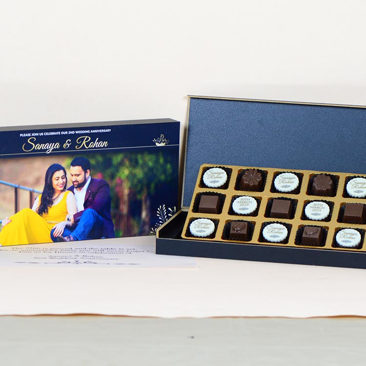 Anniversary Invitations - 18 Chocolate Box - Alternate Printed Chocolates (Sample)