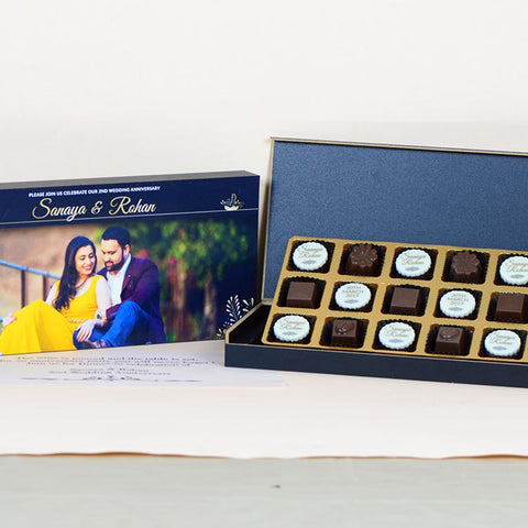 Anniversary Invitations - 18 Chocolate Box - Alternate Printed Chocolates (10 Boxes)