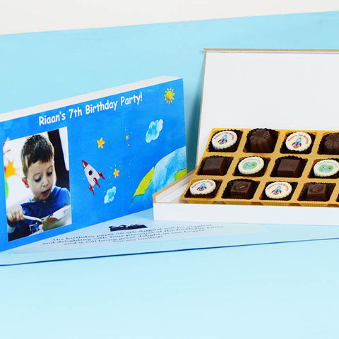 Birthday Invitations - 18 Chocolate Box - Alternate Printed Chocolates (Sample)