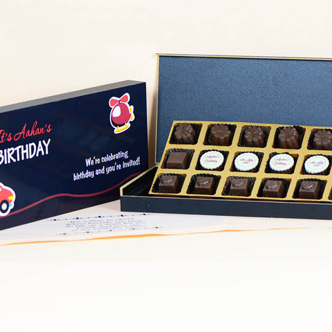 Birthday Invitations - 18 Chocolate Box - Middle Four Printed Chocolates (10 Boxes)