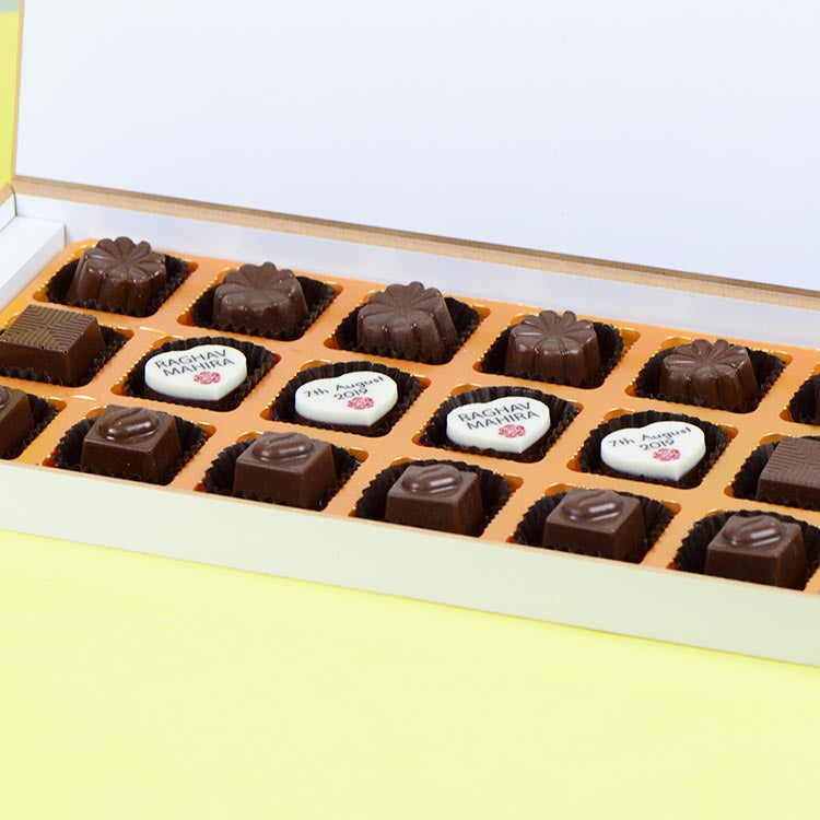Anniversary Invitations - 18 Chocolate Box - Middle Four Printed Chocolates (Sample)