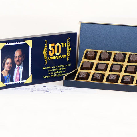 Anniversary Invitations - 18 Chocolate Box - Assorted Chocolates (Minimum 10 Boxes)