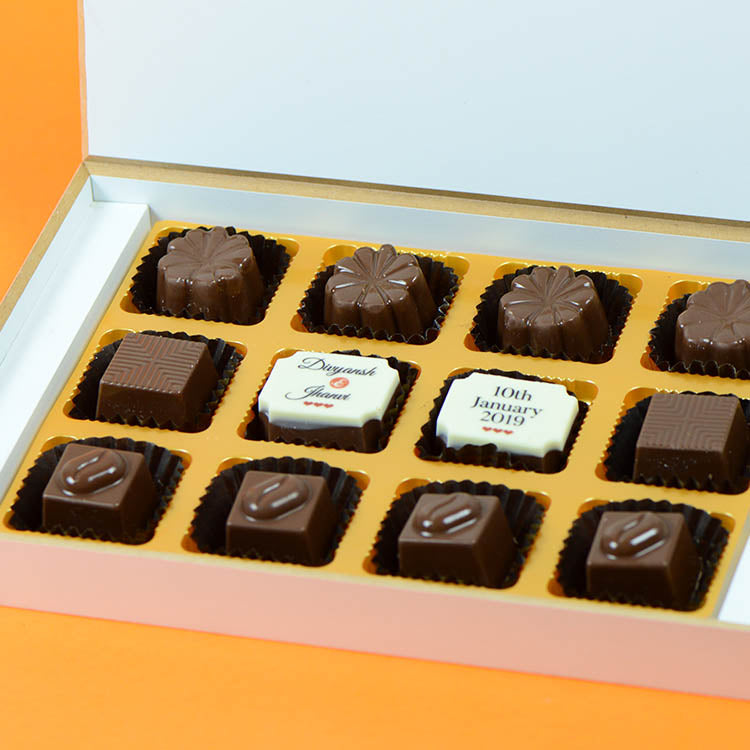 Anniversary Return Gifts - 12 Chocolate Box - Middle Two Printed Chocolates (Sample)