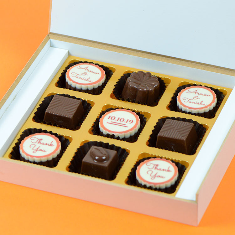 Anniversary Return Gifts - 9 Chocolate Box - Alternate Printed Chocolates (Sample)