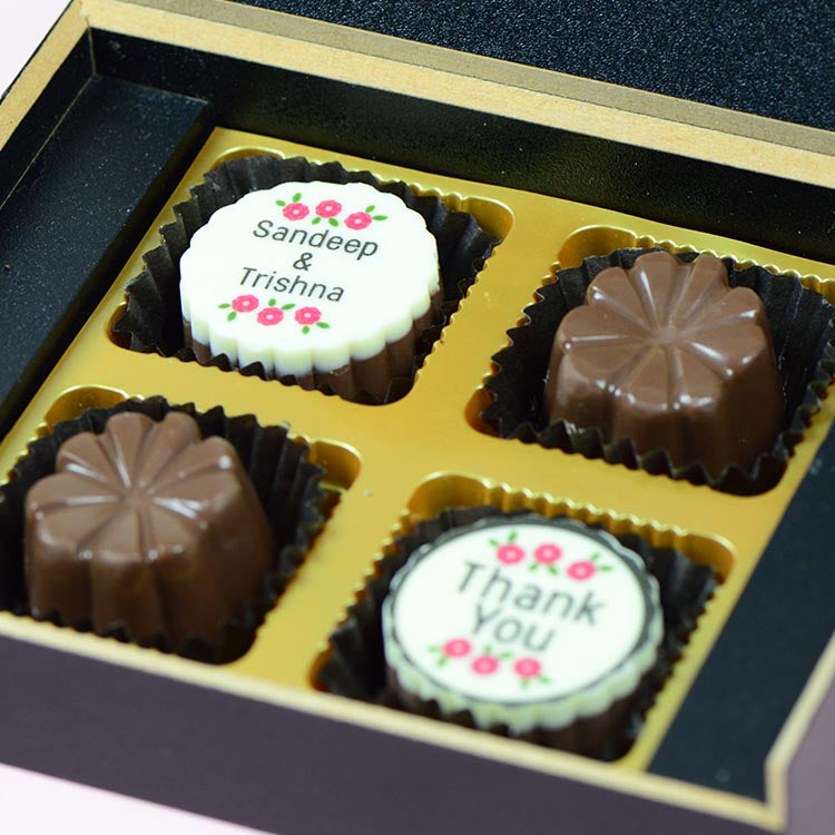 Anniversary Return Gifts - 4 Chocolate Box - Alternate Printed Chocolates (10 Boxes)