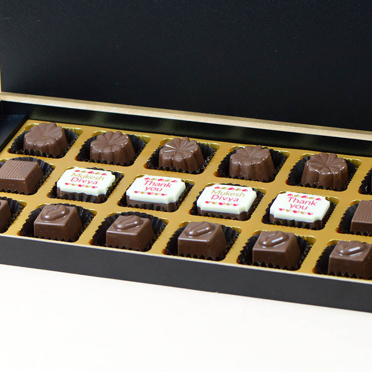 Anniversary Return Gifts - 18 Chocolate Box - Middle Four Printed Chocolates (Minimum 10 Boxes)