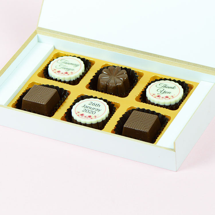 Anniversary Return Gifts - 6 Chocolate Box - Alternate Printed Chocolates (Sample)