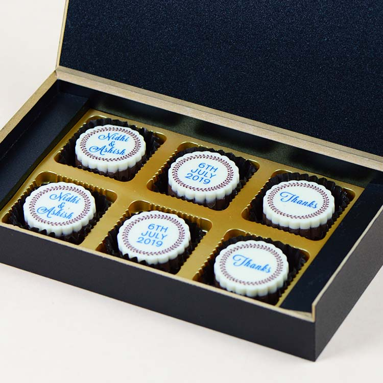 Anniversary Return Gifts - 6 Chocolate Box - All Printed Chocolates  (Sample)
