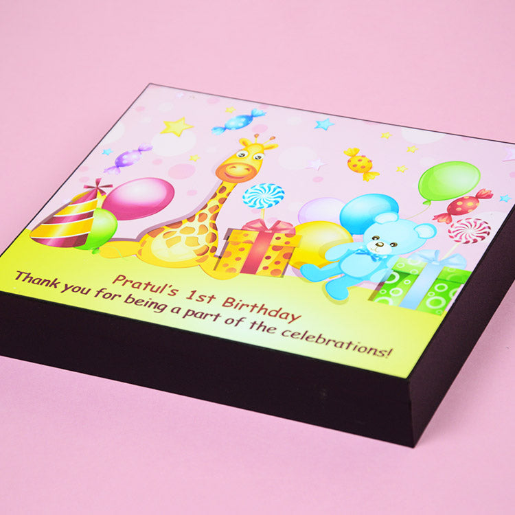 1st Birthday Return Gifts - 9 Chocolate Box - Middle Printed Chocolate (Sample)