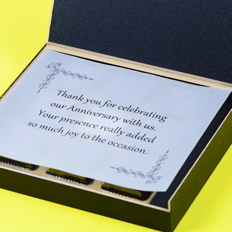Anniversary Return Gifts- 9 Chocolate Box - Single Printed Chocolates (Sample)
