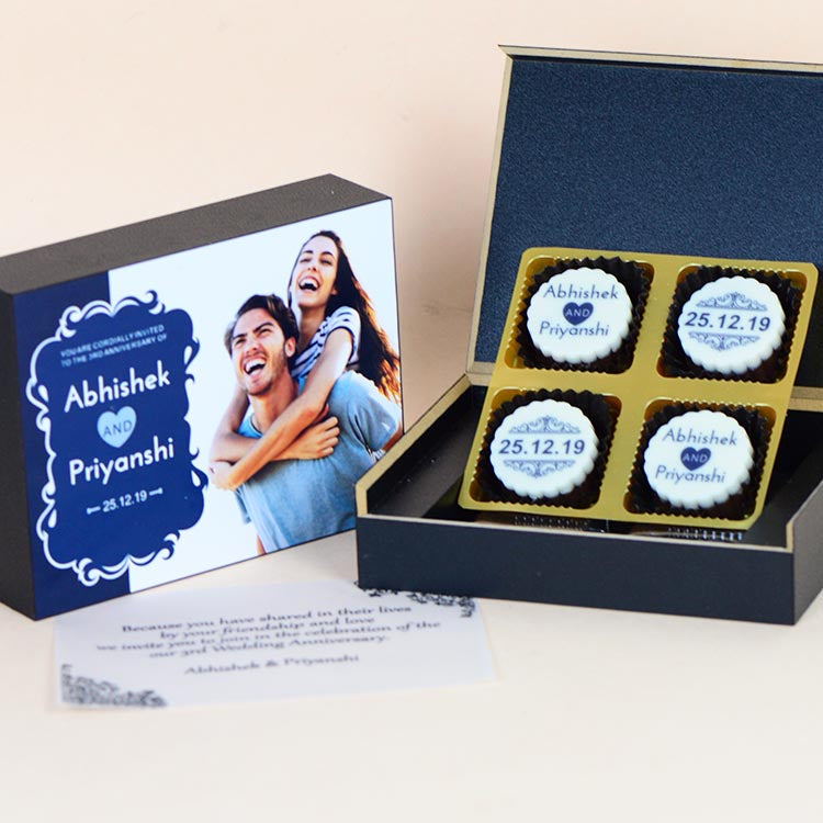 Anniversary Invitations - 4 Chocolate Box - All Printed Chocolates (10 Boxes)