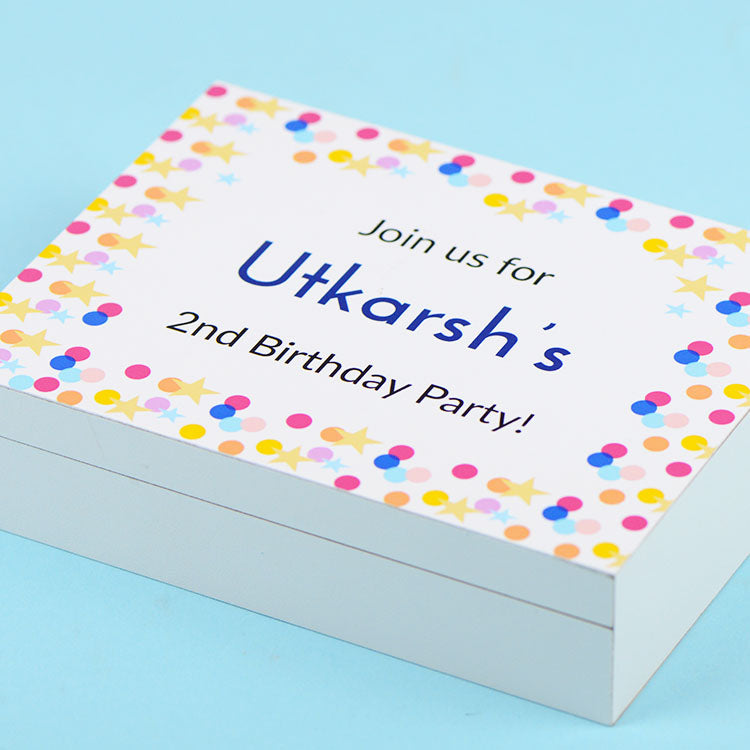 Birthday Invitation - 4 Chocolate Box - All Printed Chocolates (Minimum 10 Boxes)