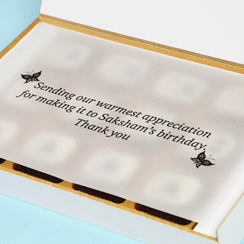 1st Birthday Return Gifts - 12 Chocolate Box - Alternate Printed Chocolates (Minimum 10 Boxes)