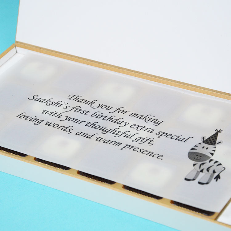 1st Birthday Return Gifts - 18 Chocolate Box - Alternate Printed Chocolates (Minimum 10 Boxes)