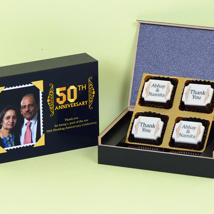 Anniversary Return Gifts - 4 Chocolate Box - All Printed Chocolates (Minimum 10 Boxes)