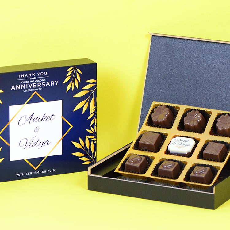 Anniversary Return Gifts- 9 Chocolate Box - Single Printed Chocolates (10 Boxes)