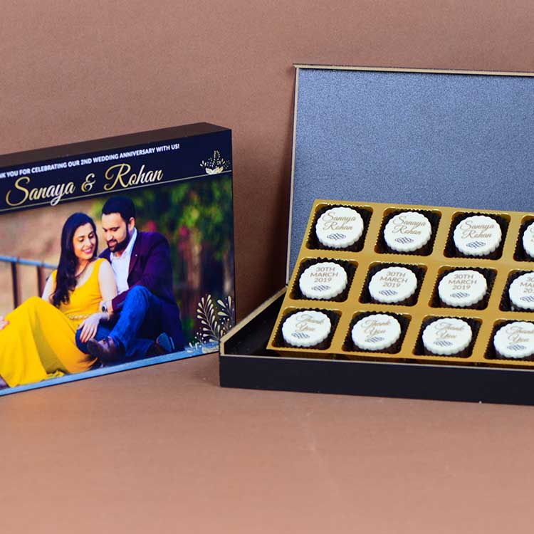 Anniversary Return Gifts - 12 Chocolate Box - All Printed Chocolates (Sample)