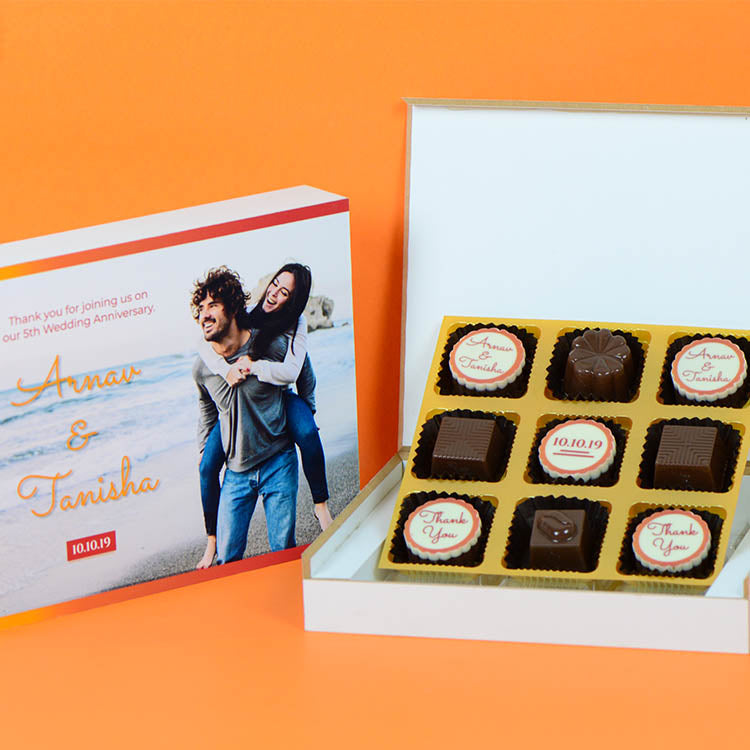 Anniversary Return Gifts - 9 Chocolate Box - Alternate Printed Chocolates (Minimum 10 Boxes)