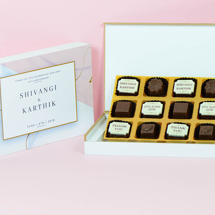 Anniversary Return Gifts - 12 Chocolate Box - Alternate Printed Chocolates (Sample)