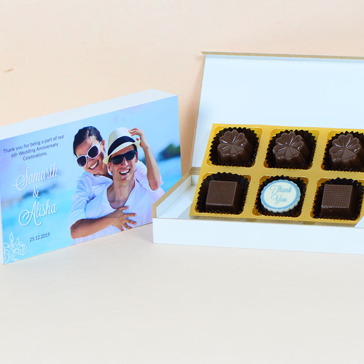 Anniversary Return Gifts - 6 Chocolate Box - Single Printed Chocolates (Sample)