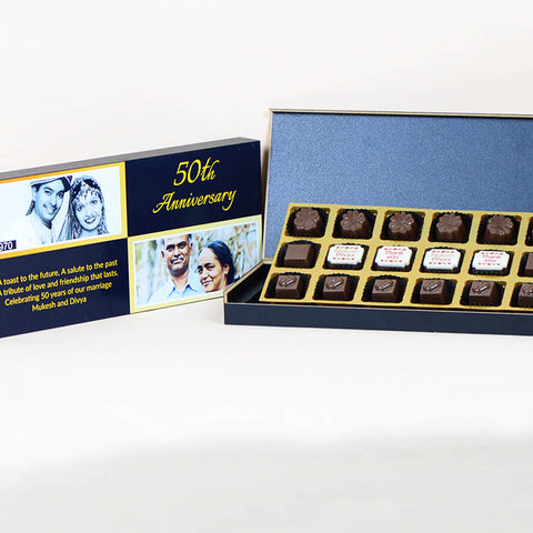Anniversary Return Gifts - 18 Chocolate Box - Middle Four Printed Chocolates (10 Boxes)