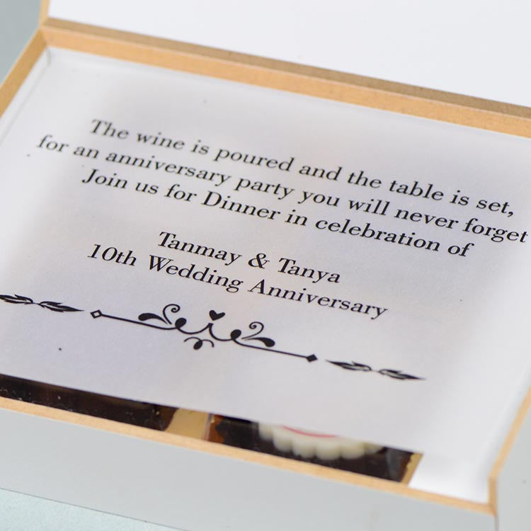 Anniversary invitations- 4 Chocolate Box - Alternate Printed Chocolates (10 Boxes)
