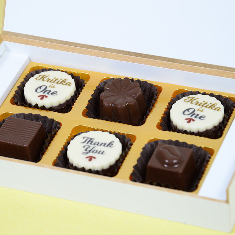 1st Birthday Return Gifts - 6 Chocolate Box - Alternate Printed Chocolates (Minimum 10 Boxes)