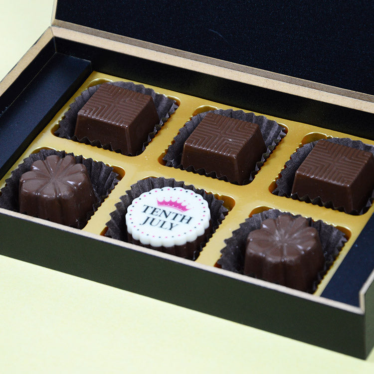 1st Birthday Return Gifts - 6 Chocolate Box - Single Printed Chocolates (10 Boxes)