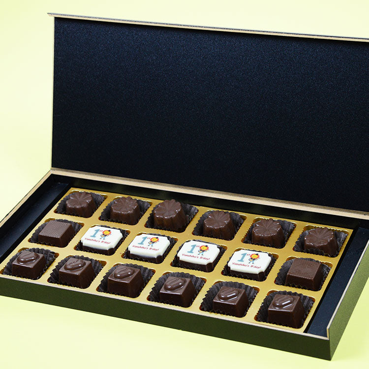 1st Birthday Return Gifts - 18 Chocolate Box - Middle Four Printed Chocolates (10 Boxes)