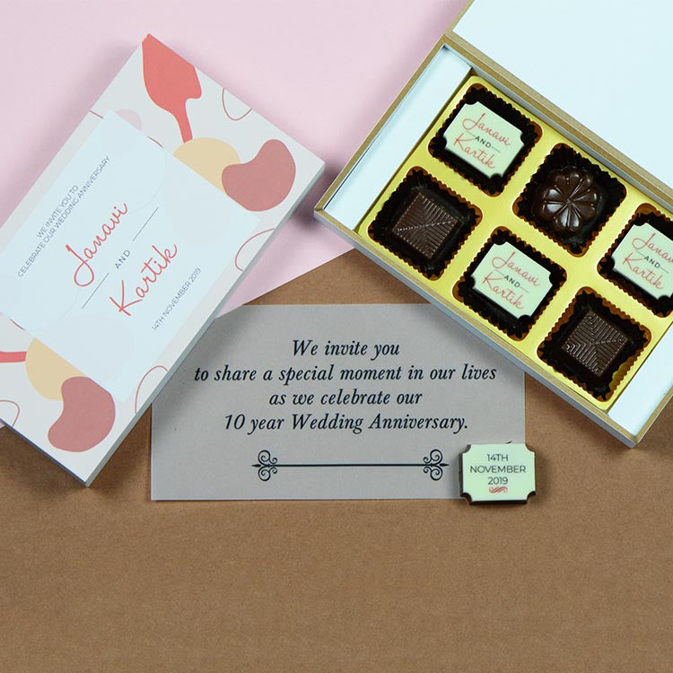 Anniversary Invitations - 6 Chocolate Box - Alternate Printed Chocolates (Sample)