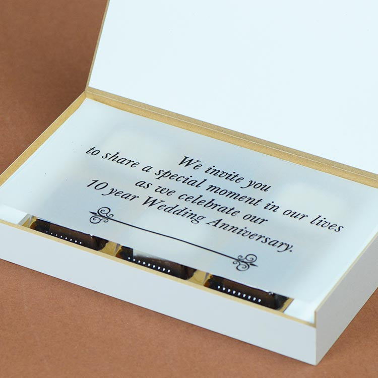 Anniversary Invitations - 6 Chocolate Box - Alternate Printed Chocolates (Minimum 10 Boxes)