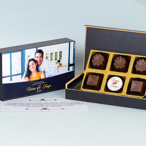 Anniversary Invitations  - 6 Chocolate Box - Single Printed Chocolates (Minimum 10 Boxes)