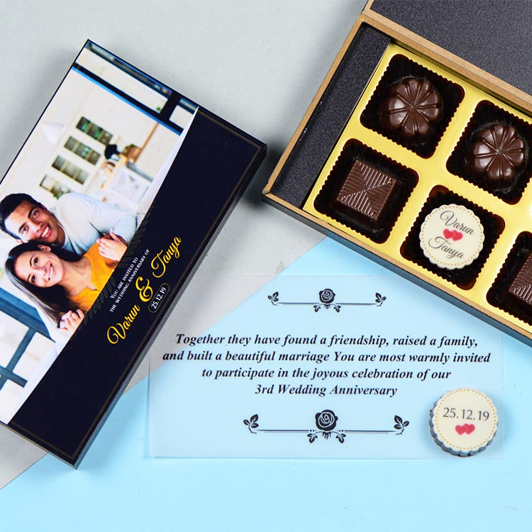 Anniversary Invitations  - 6 Chocolate Box - Single Printed Chocolates (Sample)