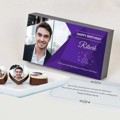 Vibrant Design Chocolate Gift Box for Birthday - Personalized with Photo