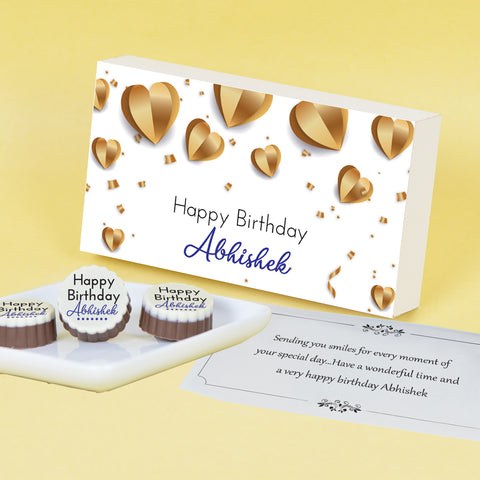 Golden Hearts Design Personalised Chocolate Box for Birthday