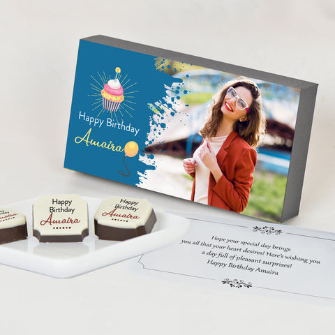 Splash of Colour Personalized Birthday Gift Box with Printed Chocolates