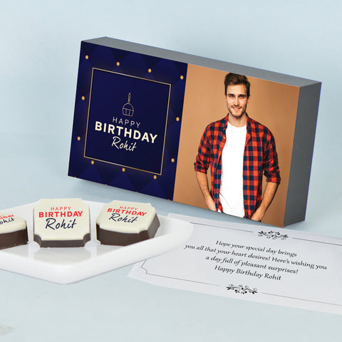 Elegant Personalized Birthday Gift Box with Printed Chocolates