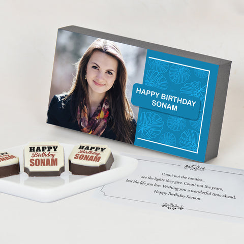 Birthday Gift Chocolate Box - Personalised with Photo and Name