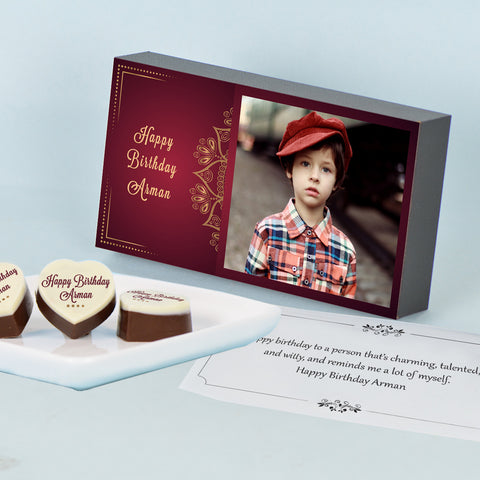 Vintage Design Chocolate Gift Box for Birthday Personalized with Picture