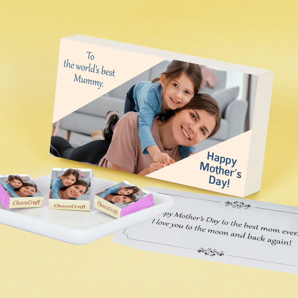 Elegant Mother's Day Gift Personalised with Photo (with Wrapped Chocolates)